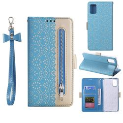 Luxury Lace Zipper Stitching Leather Phone Wallet Case for Samsung Galaxy A41 - Blue