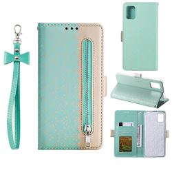 Luxury Lace Zipper Stitching Leather Phone Wallet Case for Samsung Galaxy A41 - Green