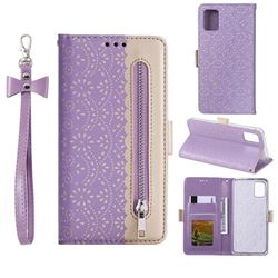 Luxury Lace Zipper Stitching Leather Phone Wallet Case for Samsung Galaxy A41 - Purple