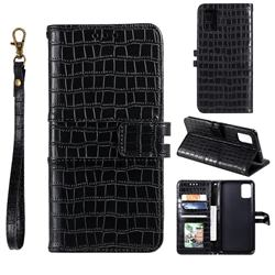 Luxury Crocodile Magnetic Leather Wallet Phone Case for Samsung Galaxy A41 - Black