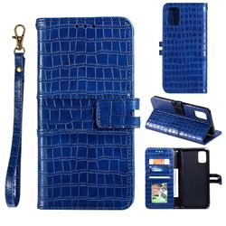 Luxury Crocodile Magnetic Leather Wallet Phone Case for Samsung Galaxy A41 - Blue