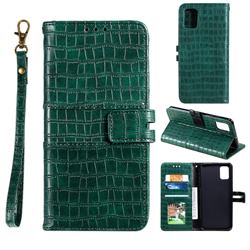 Luxury Crocodile Magnetic Leather Wallet Phone Case for Samsung Galaxy A41 - Green