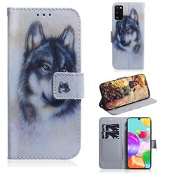Snow Wolf PU Leather Wallet Case for Samsung Galaxy A41