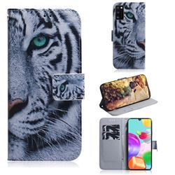 White Tiger PU Leather Wallet Case for Samsung Galaxy A41
