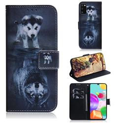 Wolf and Dog PU Leather Wallet Case for Samsung Galaxy A41