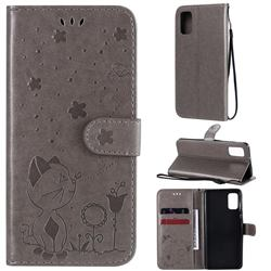 Embossing Bee and Cat Leather Wallet Case for Samsung Galaxy A41 - Gray