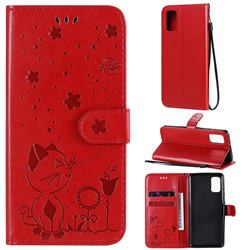 Embossing Bee and Cat Leather Wallet Case for Samsung Galaxy A41 - Red