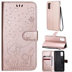 Embossing Bee and Cat Leather Wallet Case for Samsung Galaxy A41 - Rose Gold