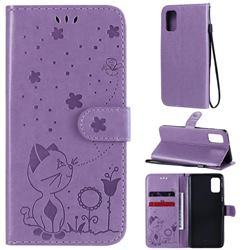 Embossing Bee and Cat Leather Wallet Case for Samsung Galaxy A41 - Purple