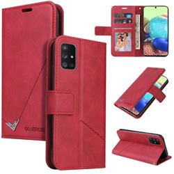 GQ.UTROBE Right Angle Silver Pendant Leather Wallet Phone Case for Samsung Galaxy A41 - Red