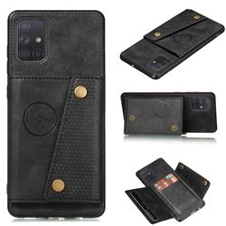 Retro Multifunction Card Slots Stand Leather Coated Phone Back Cover for Samsung Galaxy A41 - Black