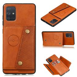 Retro Multifunction Card Slots Stand Leather Coated Phone Back Cover for Samsung Galaxy A41 - Brown