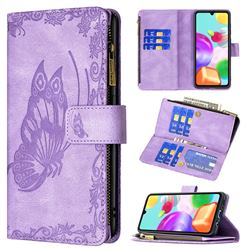 Binfen Color Imprint Vivid Butterfly Buckle Zipper Multi-function Leather Phone Wallet for Samsung Galaxy A41 - Purple