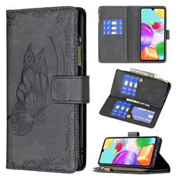 Binfen Color Imprint Vivid Butterfly Buckle Zipper Multi-function Leather Phone Wallet for Samsung Galaxy A41 - Black
