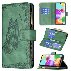 Binfen Color Imprint Vivid Butterfly Buckle Zipper Multi-function Leather Phone Wallet for Samsung Galaxy A41 - Green