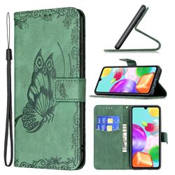 Binfen Color Imprint Vivid Butterfly Leather Wallet Case for Samsung Galaxy A41 - Green