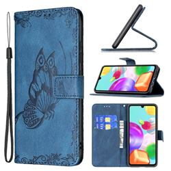 Binfen Color Imprint Vivid Butterfly Leather Wallet Case for Samsung Galaxy A41 - Blue