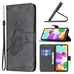 Binfen Color Imprint Vivid Butterfly Leather Wallet Case for Samsung Galaxy A41 - Black