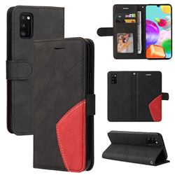 Luxury Two-color Stitching Leather Wallet Case Cover for Samsung Galaxy A41 - Black