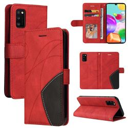 Luxury Two-color Stitching Leather Wallet Case Cover for Samsung Galaxy A41 - Red