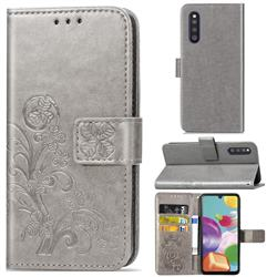 Embossing Imprint Four-Leaf Clover Leather Wallet Case for Samsung Galaxy A41 Japan SC-41A SCV48 - Grey
