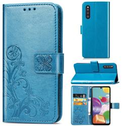 Embossing Imprint Four-Leaf Clover Leather Wallet Case for Samsung Galaxy A41 Japan SC-41A SCV48 - Blue