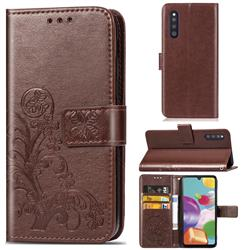 Embossing Imprint Four-Leaf Clover Leather Wallet Case for Samsung Galaxy A41 Japan SC-41A SCV48 - Brown
