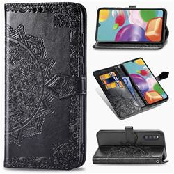 Embossing Imprint Mandala Flower Leather Wallet Case for Samsung Galaxy A41 Japan SC-41A SCV48 - Black
