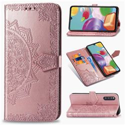 Embossing Imprint Mandala Flower Leather Wallet Case for Samsung Galaxy A41 Japan SC-41A SCV48 - Rose Gold