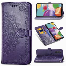 Embossing Imprint Mandala Flower Leather Wallet Case for Samsung Galaxy A41 Japan SC-41A SCV48 - Purple