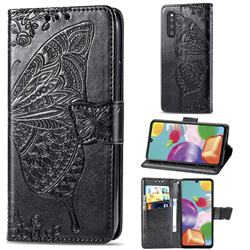 Embossing Mandala Flower Butterfly Leather Wallet Case for Samsung Galaxy A41 Japan SC-41A SCV48 - Black