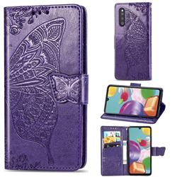 Embossing Mandala Flower Butterfly Leather Wallet Case for Samsung Galaxy A41 Japan SC-41A SCV48 - Dark Purple