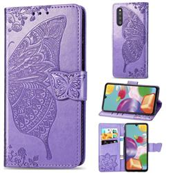 Embossing Mandala Flower Butterfly Leather Wallet Case for Samsung Galaxy A41 Japan SC-41A SCV48 - Light Purple