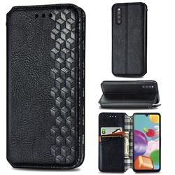 Ultra Slim Fashion Business Card Magnetic Automatic Suction Leather Flip Cover for Samsung Galaxy A41 Japan SC-41A SCV48 - Black