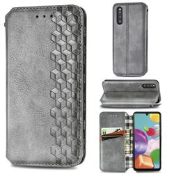 Ultra Slim Fashion Business Card Magnetic Automatic Suction Leather Flip Cover for Samsung Galaxy A41 Japan SC-41A SCV48 - Grey