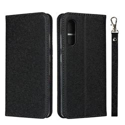 Ultra Slim Magnetic Automatic Suction Silk Lanyard Leather Flip Cover for Samsung Galaxy A41 Japan SC-41A SCV48 - Black