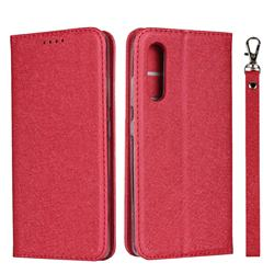 Ultra Slim Magnetic Automatic Suction Silk Lanyard Leather Flip Cover for Samsung Galaxy A41 Japan SC-41A SCV48 - Red