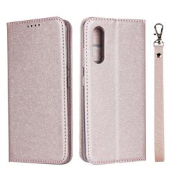 Ultra Slim Magnetic Automatic Suction Silk Lanyard Leather Flip Cover for Samsung Galaxy A41 Japan SC-41A SCV48 - Rose Gold