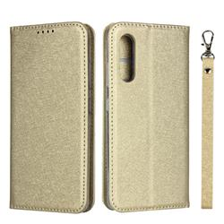 Ultra Slim Magnetic Automatic Suction Silk Lanyard Leather Flip Cover for Samsung Galaxy A41 Japan SC-41A SCV48 - Golden