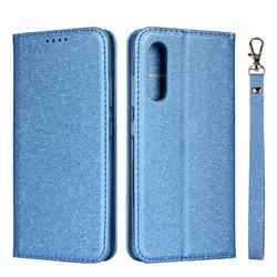 Ultra Slim Magnetic Automatic Suction Silk Lanyard Leather Flip Cover for Samsung Galaxy A41 Japan SC-41A SCV48 - Sky Blue
