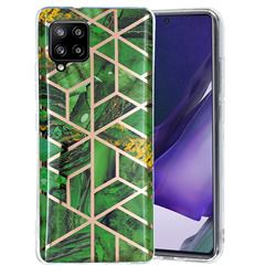 Green Rhombus Galvanized Rose Gold Marble Phone Back Cover for Samsung Galaxy A42 5G