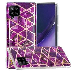 Purple Rhombus Galvanized Rose Gold Marble Phone Back Cover for Samsung Galaxy A42 5G