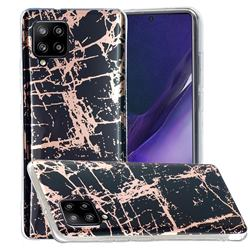 Black Galvanized Rose Gold Marble Phone Back Cover for Samsung Galaxy A42 5G