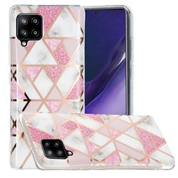 Pink Rhombus Galvanized Rose Gold Marble Phone Back Cover for Samsung Galaxy A42 5G