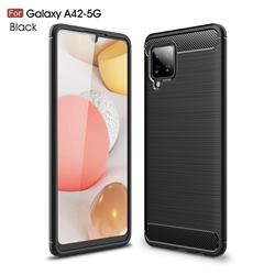 Luxury Carbon Fiber Brushed Wire Drawing Silicone TPU Back Cover for Samsung Galaxy A42 5G - Black