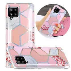 Pink Marble Painted Galvanized Electroplating Soft Phone Case Cover for Samsung Galaxy A42 5G