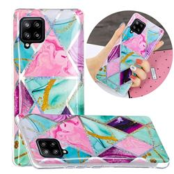 Triangular Marble Painted Galvanized Electroplating Soft Phone Case Cover for Samsung Galaxy A42 5G