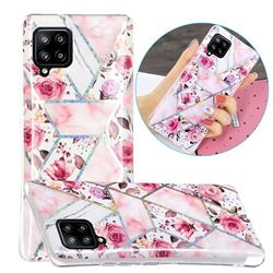 Rose Flower Painted Galvanized Electroplating Soft Phone Case Cover for Samsung Galaxy A42 5G