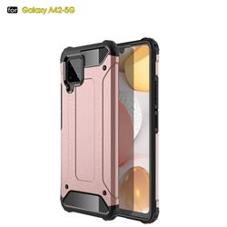 King Kong Armor Premium Shockproof Dual Layer Rugged Hard Cover for Samsung Galaxy A42 5G - Rose Gold