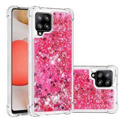 Dynamic Liquid Glitter Sand Quicksand TPU Case for Samsung Galaxy A42 5G - Pink Love Heart